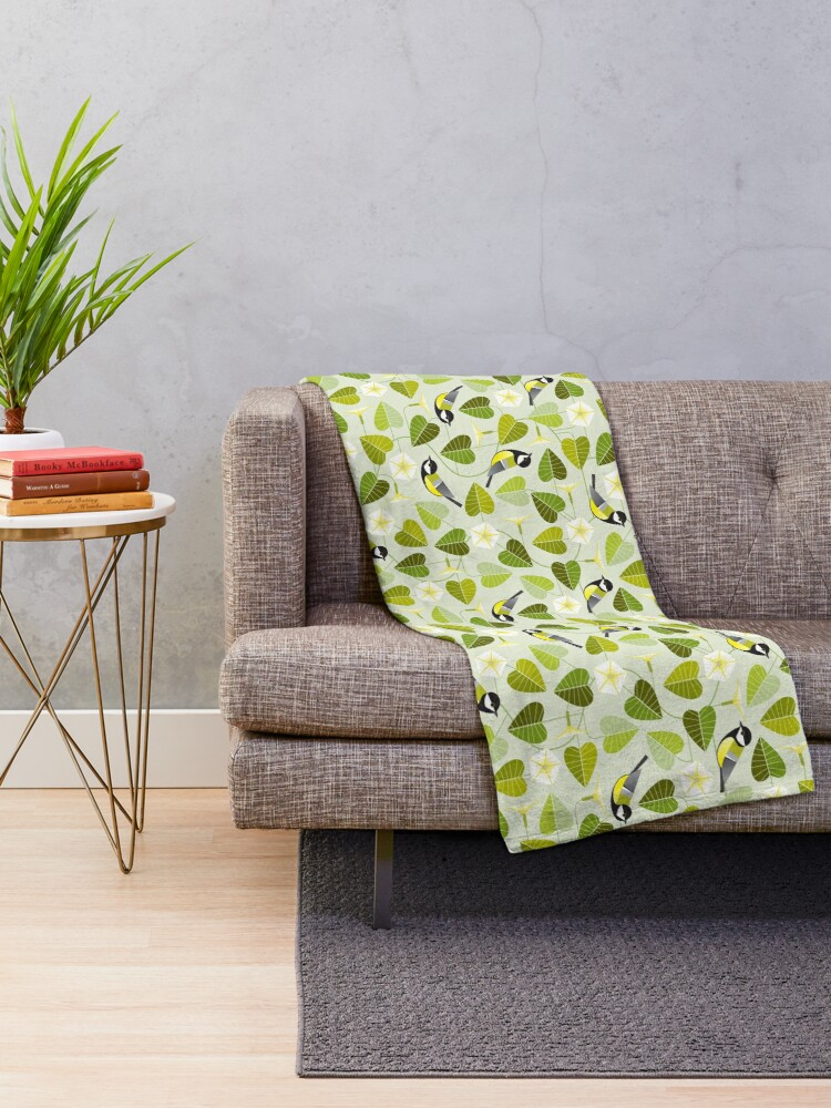 Alternate view of Moonflower and great tit Throw Blanket