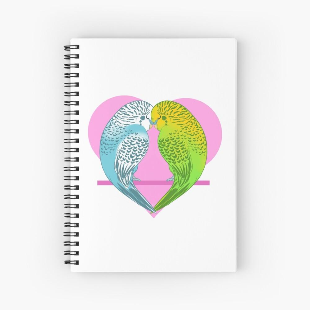 Pastel Animals - Love Budgies Spiral Notebook