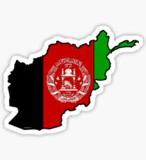 Afghanistan Map With Afghan Flag Sticker