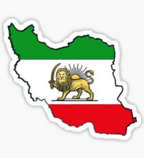 Iran Map With Iranian Flag Sticker