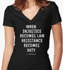 WHEN RESISTANCE BECOMES DUTY Women's Fitted V-Neck T-Shirt