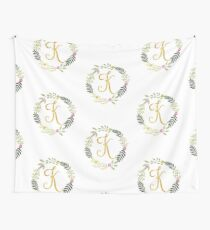 Floral and Gold Initial Monogram K Wall Tapestry