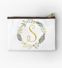 Floral and Gold Initial Monogram S Studio Pouch