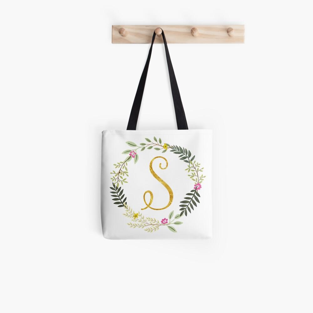 Floral and Gold Initial Monogram S Tote Bag