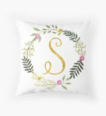Floral and Gold Initial Monogram S Throw Pillow
