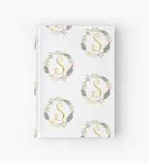 Floral and Gold Initial Monogram S Hardcover Journal