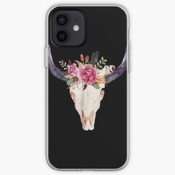 Cow Skull Art With Flowers iPhone Soft Case