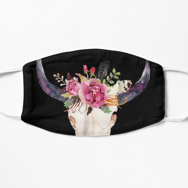 Cow Skull Art With Flowers Flat Mask