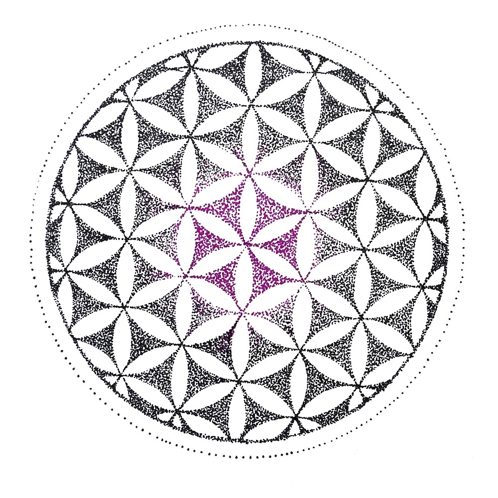 """Flower of life dotwork"" by SilvieX 