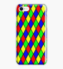 BrighPrimary Color Harlequin Windowpane Diamond Pattern iPhone Case/Skin