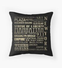 New York Famous Landmarks Throw Pillow