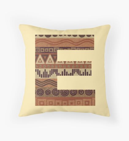 Letter E Leather Look Pattern Tribal Ethnic Monogram Initial Throw Pillow