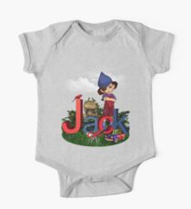 Jack Red Blue - Kids Art with Custom Name One Piece - Short Sleeve