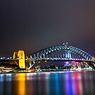 Sydney Harbour Bridge, Sydney, NSW, Australa - Night Time Lights by Ben  Cadwallader