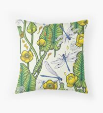 yellow water lilies and dragonflies Throw Pillow