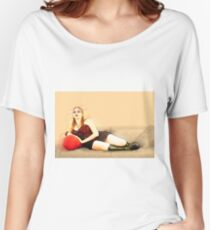 digitally enhanced picture of an arrogant model in red corset  Women's Relaxed Fit T-Shirt