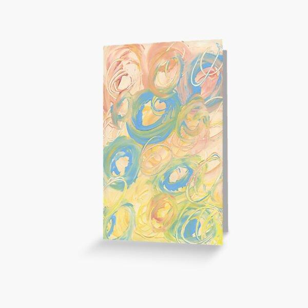 Tourbillon de pêches bleues et jaunes Carte de vœux