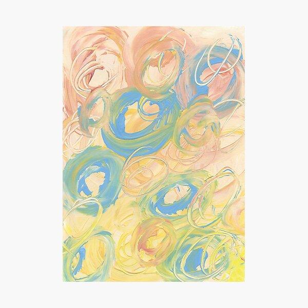 Tourbillon de pêches bleues et jaunes Impression photo