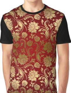 Burgundy And Gold Floral Damasks Graphic T-Shirt