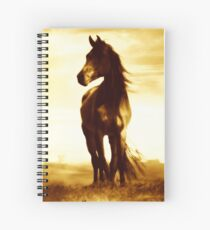 Antiqued Wind Swept  Horse Spiral Notebook