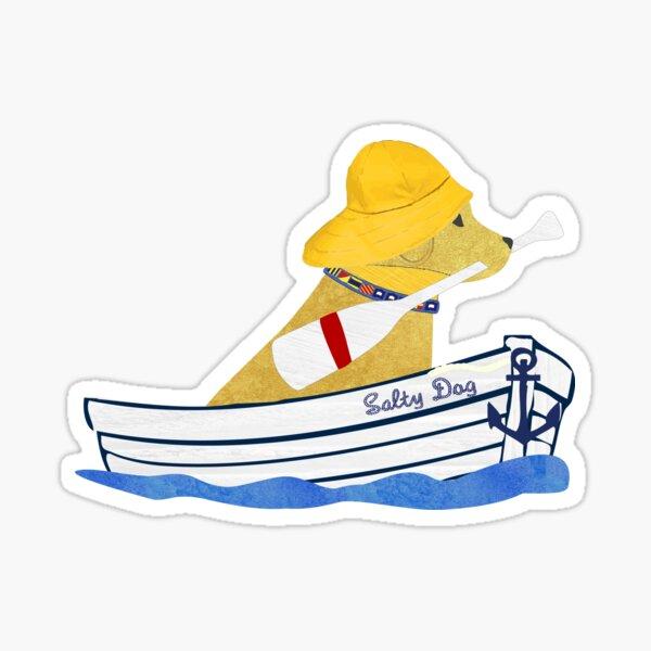 Nautical Preppy Yellow Lab Aboard The Salty Dog Sticker