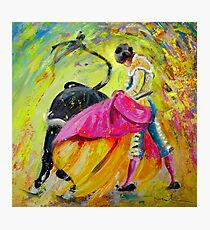 Bullfighting in Neon Light 01 Photographic Print