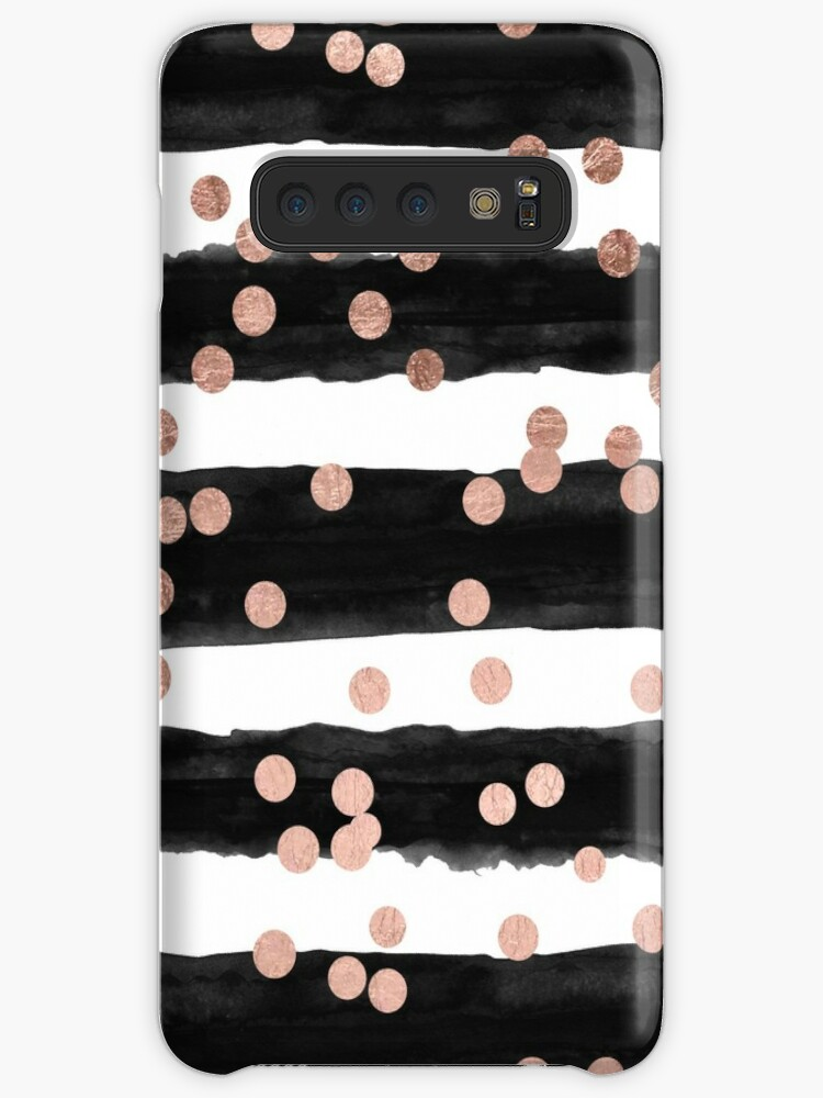 Girly rose gold confetti black watercolor stripes by GirlyTrend