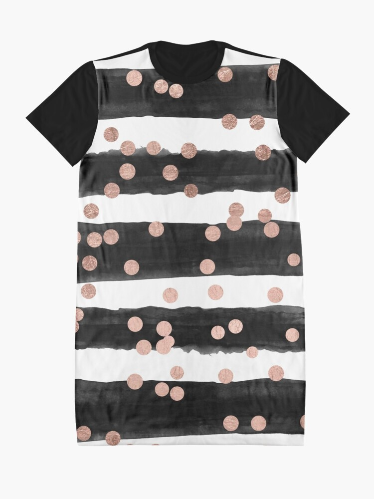 Alternate view of Girly rose gold confetti black watercolor stripes Graphic T-Shirt Dress