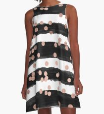 Girly rose gold confetti black watercolor stripes A-Line Dress