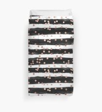 Girly rose gold confetti black watercolor stripes Duvet Cover
