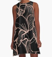 Modern rose gold abstract handdrawn floral pattern on black A-Line Dress