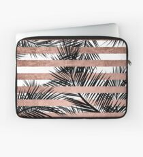 Trendy tropical palm trees chic rose gold stripes Laptop Sleeve