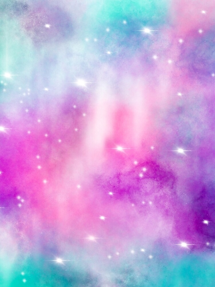 Trendy bright watercolor pastel nebula space hand painted by GirlyTrend