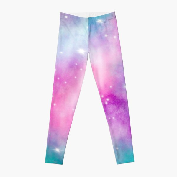 Trendy bright watercolor pastel nebula space hand painted Leggings