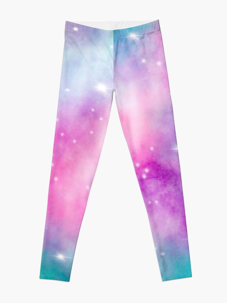 Alternate view of Trendy bright watercolor pastel nebula space hand painted Leggings
