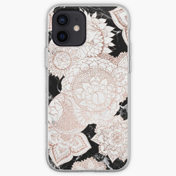Modern rose gold floral mandala chic marble iPhone Soft Case