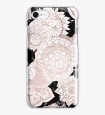 Modern rose gold floral mandala chic marble iPhone Case/Skin