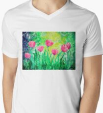 Dancing Tulips by Jan Marvin Mens V-Neck T-Shirt