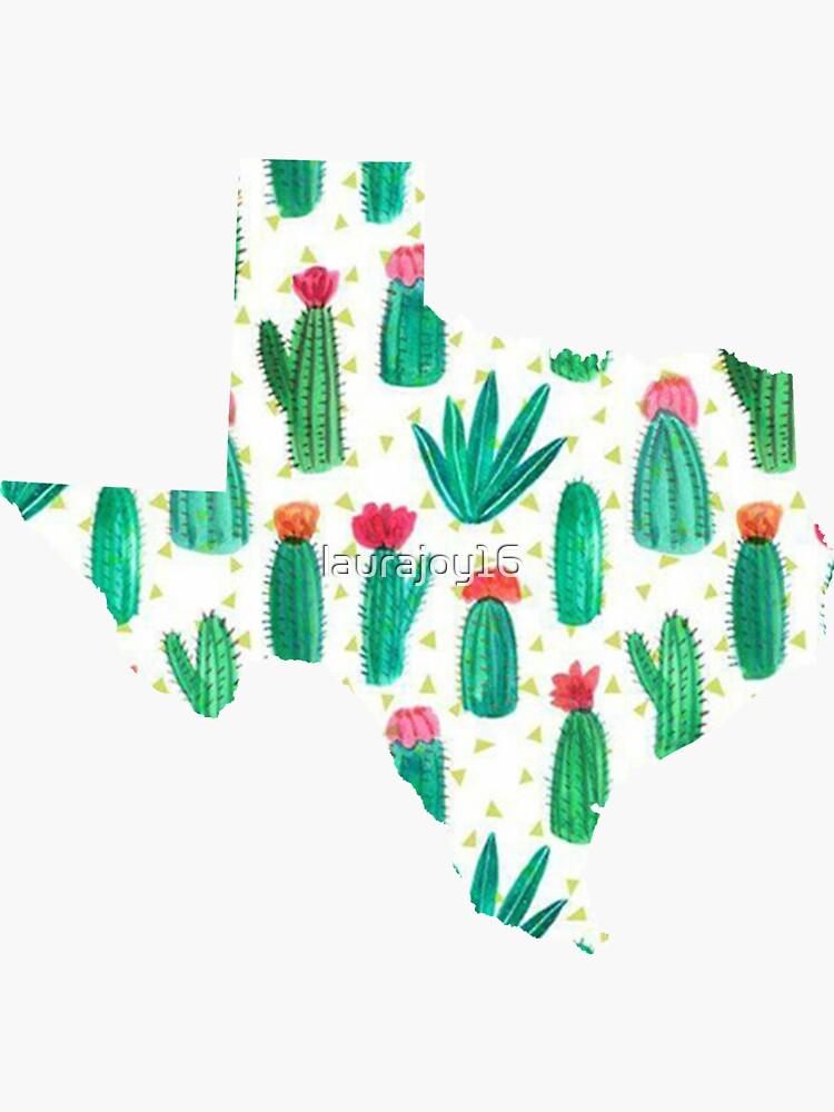 Cactus acuarela de contorno de Texas de laurajoy16