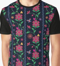 Floral rustic embroidery elegant dark pattern Graphic T-Shirt