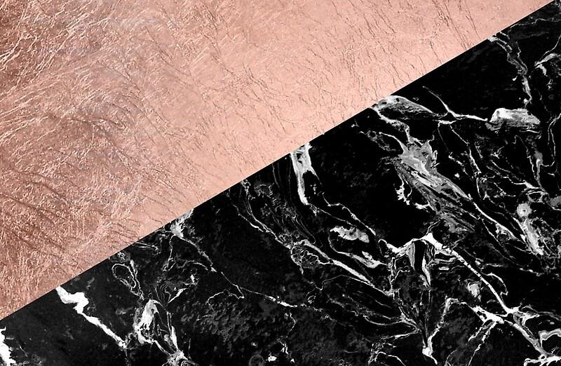 Black Gold Marble Blocks : Quot chic modern rose gold black marble color block laptop