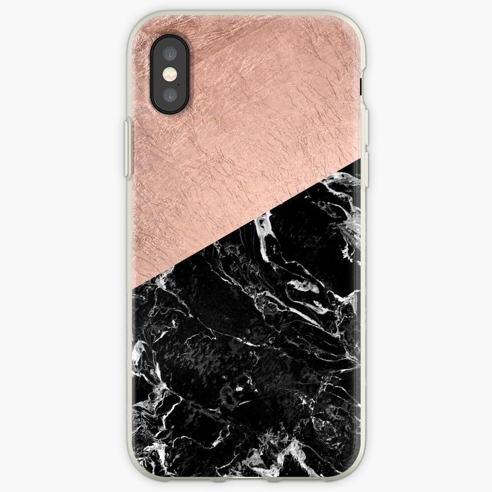 Schicker moderner rosafarbener Goldschwarzmarmorfarbblock iPhone-Hülle & Cover