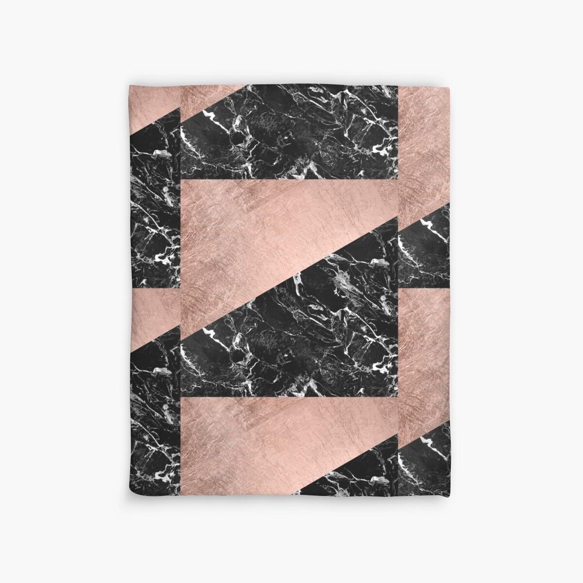 Black Gold Marble Blocks : Quot chic modern rose gold black marble color block duvet