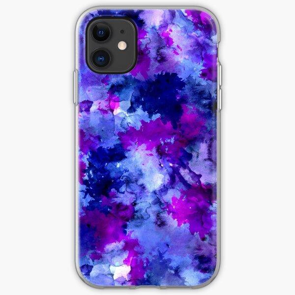 Modern blue purple watercolor brushstrokes iPhone Soft Case