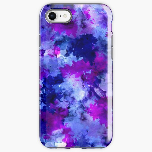 Modern blue purple watercolor brushstrokes iPhone Tough Case