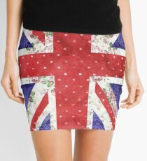 Vintage Red Polka Dots Floral UK Union Jack Flag Mini Skirt