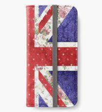 Vintage Red Polka Dots Floral UK Union Jack Flag iPhone Wallet/Case/Skin