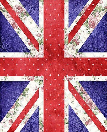 Vintage Red Polka Dots Floral UK Union Jack Flag by GirlyTrend