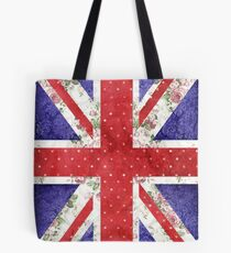 Vintage Red Polka Dots Floral UK Union Jack Flag Tote Bag