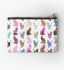 Girly Whimsical Cats aztec floral stripes pattern Studio Pouch
